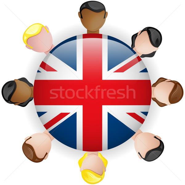 UK Flag Button Teamwork People Group Stock photo © gubh83