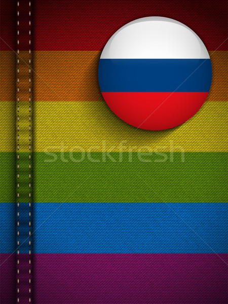 Gay Flag Button on Jeans Fabric Texture Russia Stock photo © gubh83