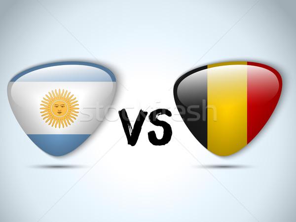 Argentína Belgium zászló futball játék vektor Stock fotó © gubh83