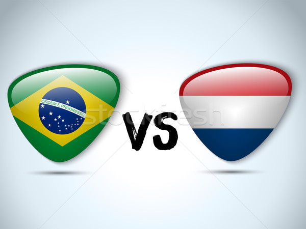 Nederland Brazilië vlag voetbal spel vector Stockfoto © gubh83