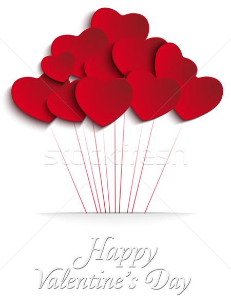 Valentijnsdag hart ballonnen Rood vector partij Stockfoto © gubh83