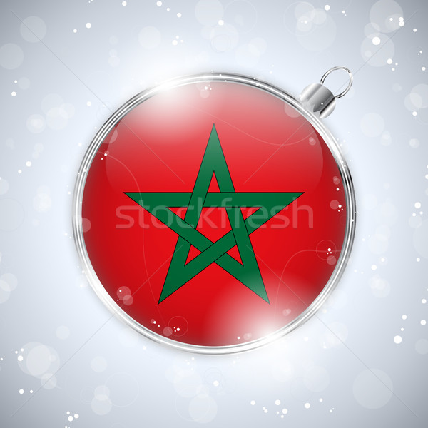 Merry Christmas Silver Ball with Flag Morocco Stock photo © gubh83