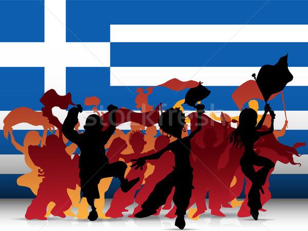 Grecia sport fan folla bandiera vettore Foto d'archivio © gubh83
