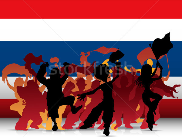 Thailand Sport Fan Crowd with Flag Stock photo © gubh83