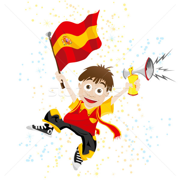 Spain Sport Fan with Flag and Horn Stock photo © gubh83