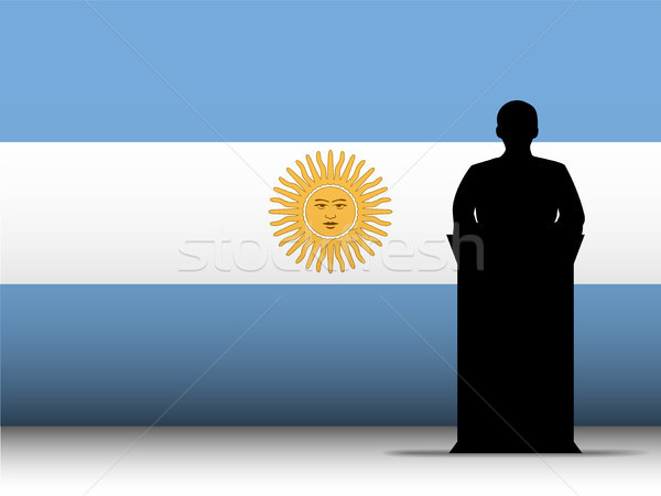 Argentina Speech Tribune Silhouette with Flag Background Stock photo © gubh83