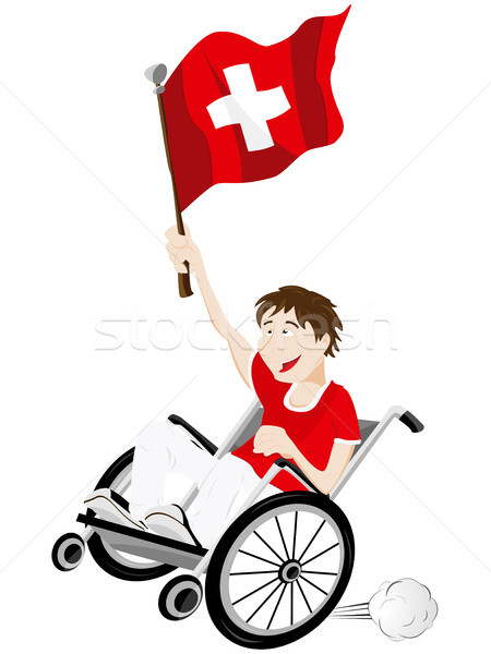 Switzerland Sport Fan Supporter on Wheelchair with Flag Stock photo © gubh83