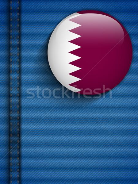 Catar bandeira botão jeans bolso vetor Foto stock © gubh83