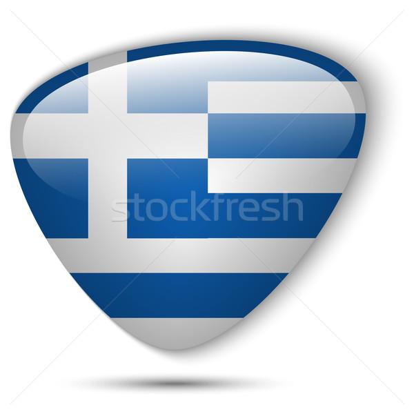 Grecja banderą przycisk wektora szkła Zdjęcia stock © gubh83