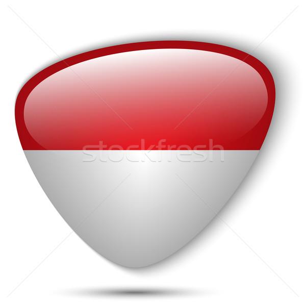 Monaco zászló fényes gomb vektor üveg Stock fotó © gubh83