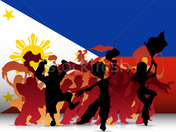 Philippines Sport Fan Crowd with Flag Stock photo © gubh83