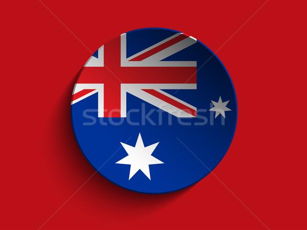 Bayrak kâğıt daire gölge düğme Avustralya Stok fotoğraf © gubh83