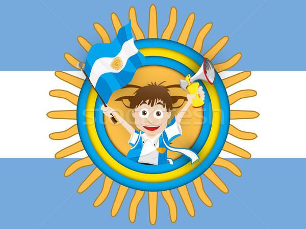 Argentina futebol ventilador bandeira desenho animado vetor Foto stock © gubh83