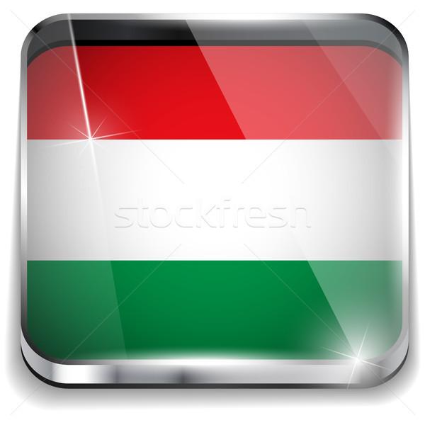 Węgry banderą smartphone aplikacja placu przyciski Zdjęcia stock © gubh83
