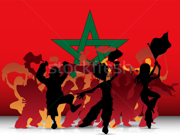 Morocco Sport Fan Crowd with Flag Stock photo © gubh83