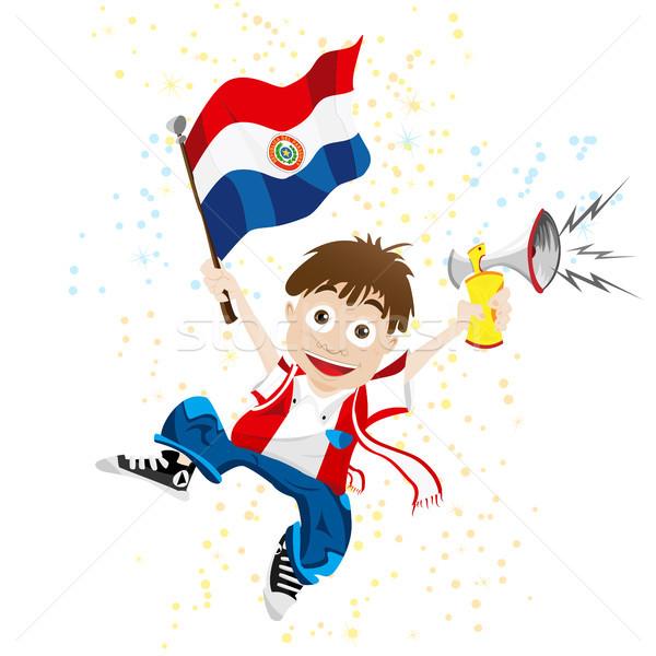 Paraguay sport fan bandiera corno vettore Foto d'archivio © gubh83