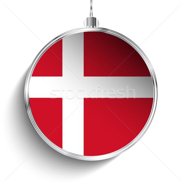 Alegre Navidad plata pelota bandera Dinamarca Foto stock © gubh83