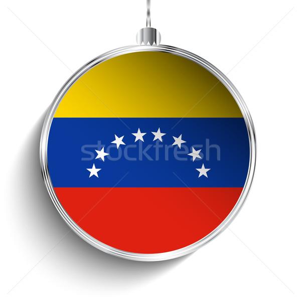 Alegre Navidad plata pelota bandera Venezuela Foto stock © gubh83
