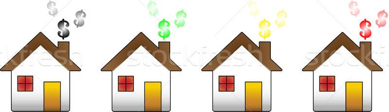 Huis financiële crisis huizen tonen dollar symbool Stockfoto © gubh83