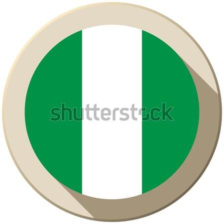 Nigeria banderą przycisk ikona nowoczesne wektora Zdjęcia stock © gubh83