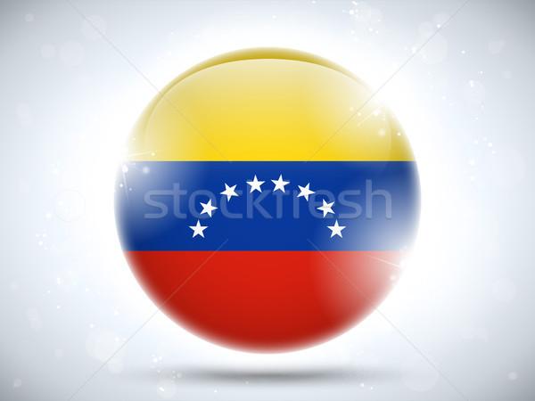 Venezuela zászló fényes gomb vektor világ Stock fotó © gubh83