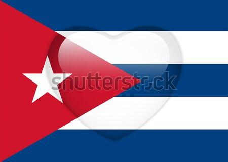 Kuba zászló szív fényes gomb vektor Stock fotó © gubh83