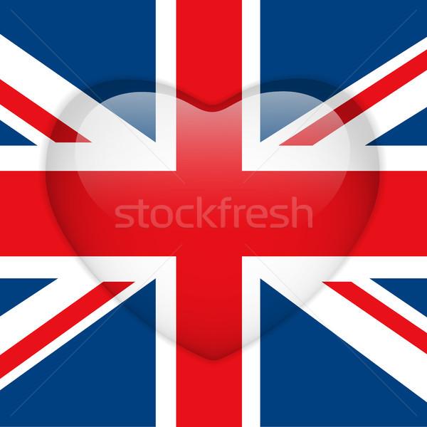 Regno Unito bandiera cuore lucido pulsante vettore Foto d'archivio © gubh83