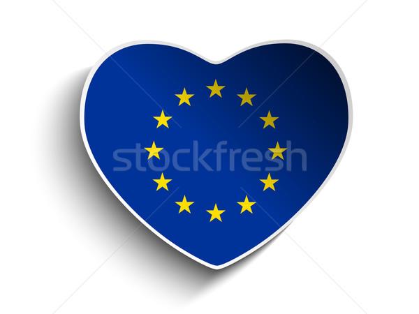Stock fotó: Európa · zászló · szív · papír · matrica · vektor