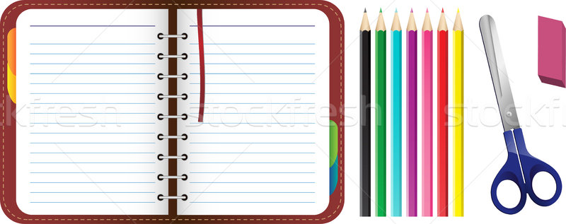 Organizer with pencils, scissors and eraser set Stock photo © gubh83
