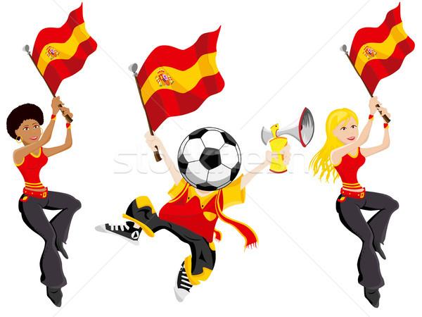 Spanien Fußball Mädchen Welt Flagge Team Stock foto © gubh83