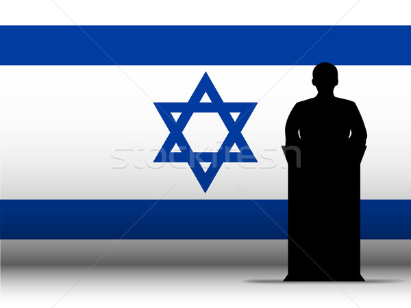 Israel Speech Tribune Silhouette with Flag Background Stock photo © gubh83