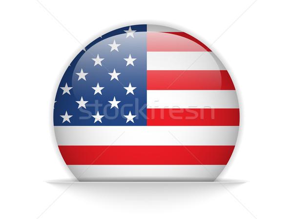 Stok fotoğraf: Amerika · Birleşik · Devletleri · bayrak · parlak · düğme · vektör · cam