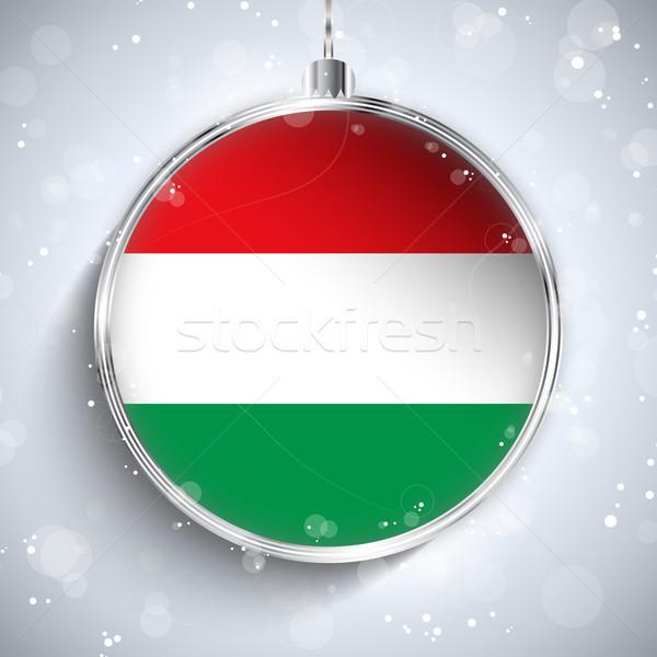 Wesoły christmas srebrny piłka banderą Węgry Zdjęcia stock © gubh83
