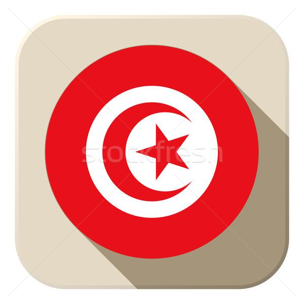 Tunisia Flag Button Icon Modern Stock photo © gubh83