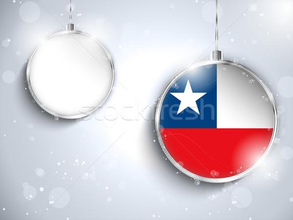 Vidám karácsony ezüst labda zászló Chile Stock fotó © gubh83