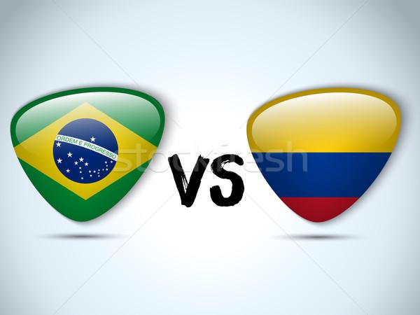 Brazilië Colombia vlag voetbal spel vector Stockfoto © gubh83