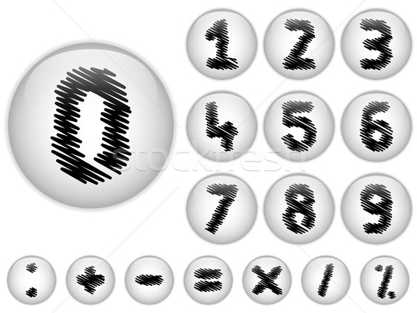 Alphabet Scribble Numbers in shiny White Buttons Stock photo © gubh83