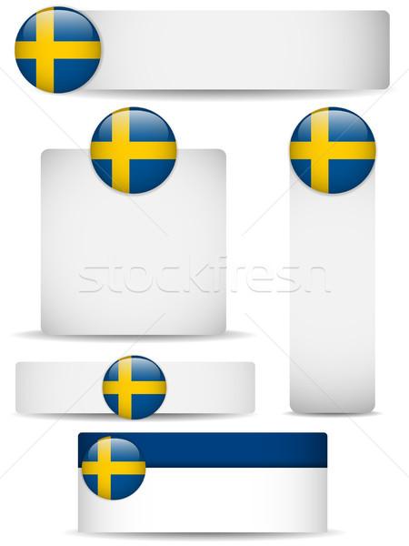 Szwecja kraju zestaw banery wektora działalności Zdjęcia stock © gubh83
