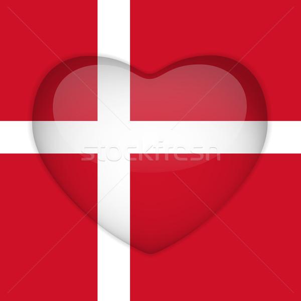 Dinamarca bandeira coração botão vetor Foto stock © gubh83
