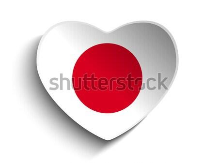Stock fotó: Japán · zászló · szív · papír · matrica · vektor