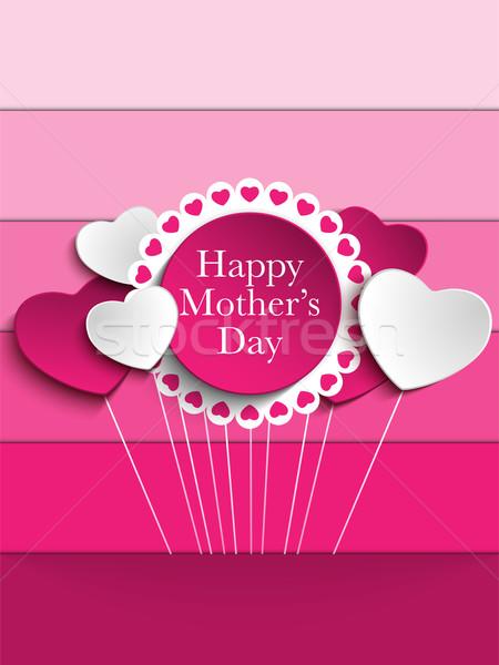 Zdjęcia stock: Szczęśliwy · matka · dzień · serca · tag · wektora