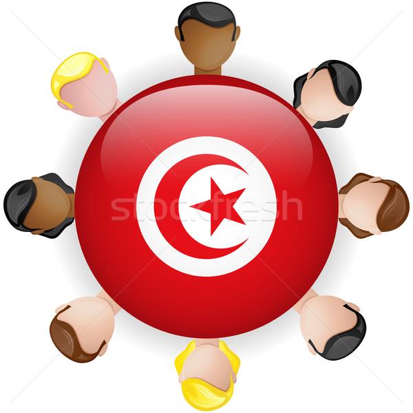 Tunísia bandeira botão trabalho em equipe pessoas grupo Foto stock © gubh83