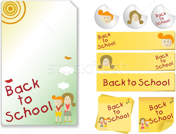Okula geri ayarlamak dikkat etiket kız Stok fotoğraf © gubh83