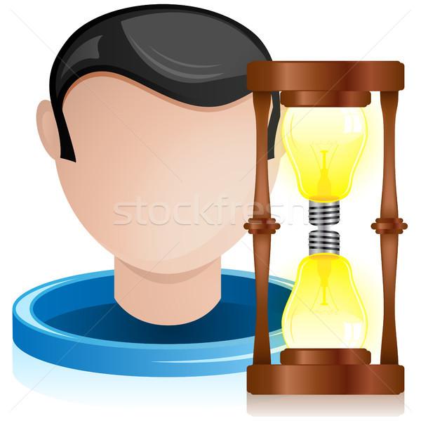 Man Head with Light Bulb Hourglass Stock photo © gubh83