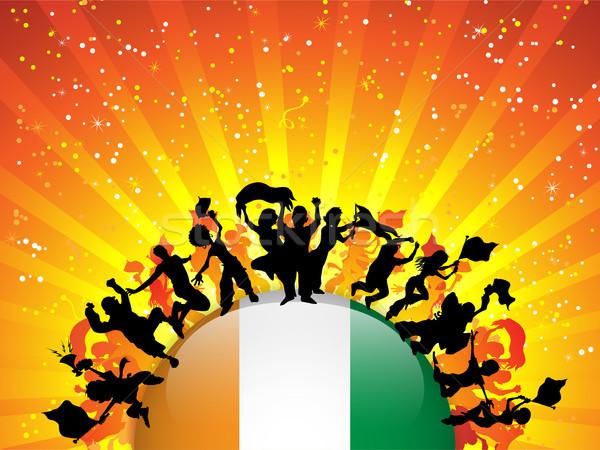 Stock photo: Ireland Sport Fan Crowd with Flag