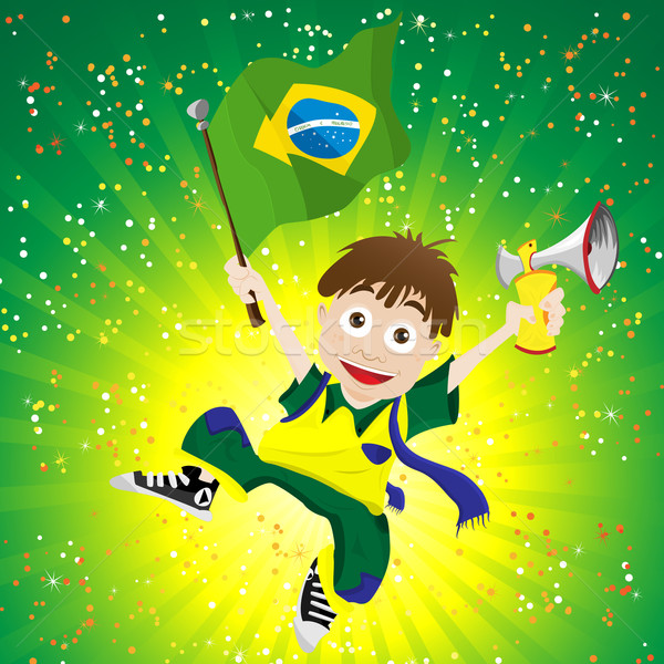 Brazil Sport Fan with Flag and Horn Stock photo © gubh83