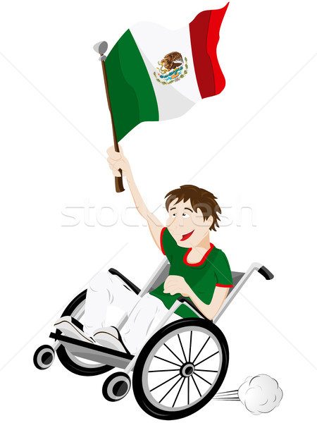 Mexico Sport Fan Supporter on Wheelchair with Flag Stock photo © gubh83