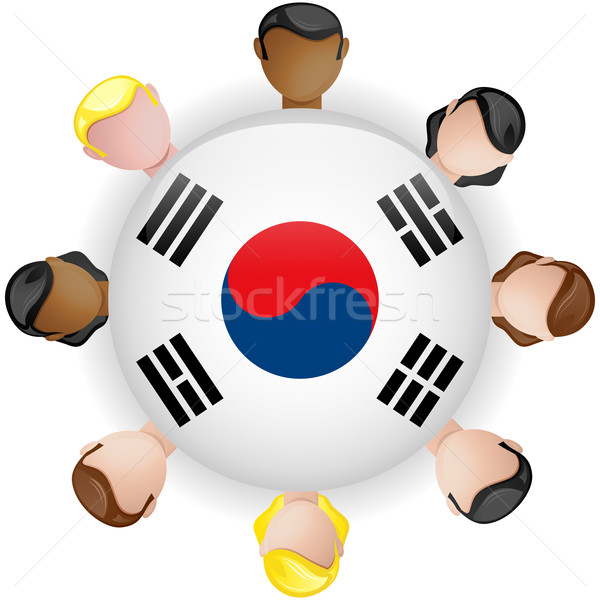 Stock photo: South Korea Flag Button Teamwork People Group