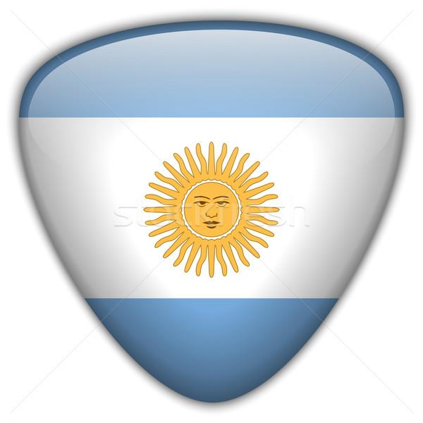 Stockfoto: Argentinië · vlag · glanzend · knop · vector · glas