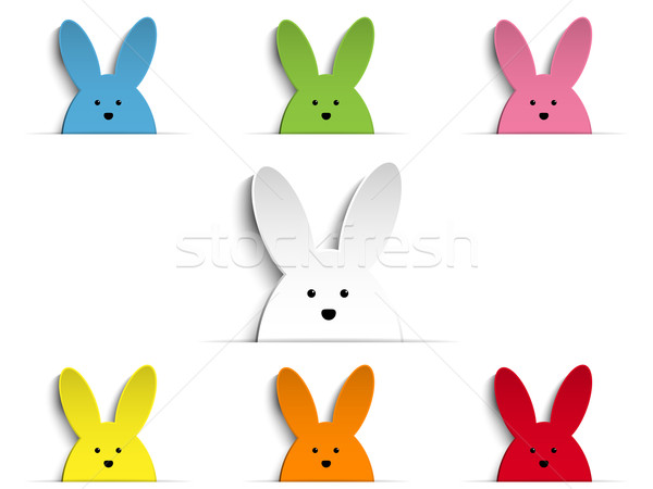 Happy Easter Rabbit Bunny Set Cartoon Stock photo © gubh83